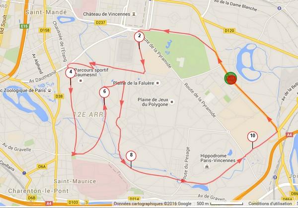 Parcours dans le Bois de Vincennes et à l'INSEP