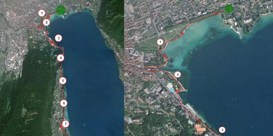 Parcours de course dans Annecy