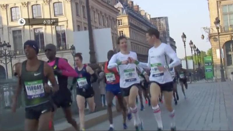 Jumeaux Romain et Guillaume Adam au marathon de Paris