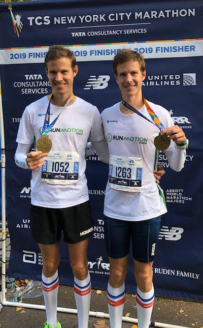 Guillaume et Romain Adam Finishers du marathon de New York